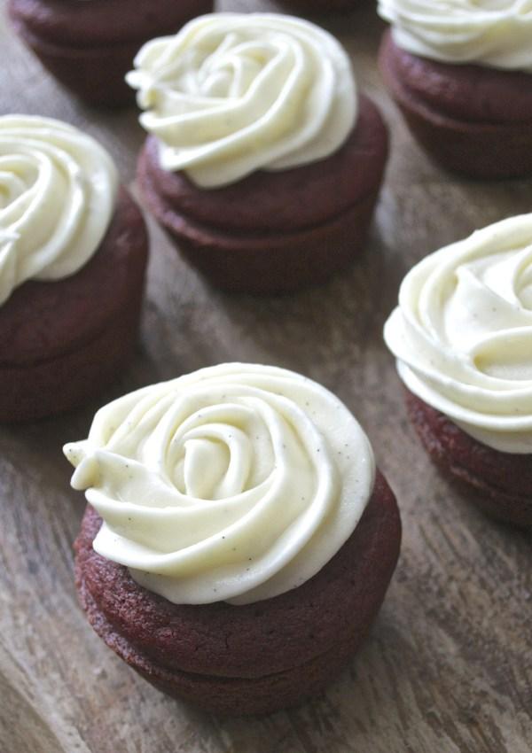 Red Velvet Cupcakes with Vanilla Bean Cream Cheese Icing