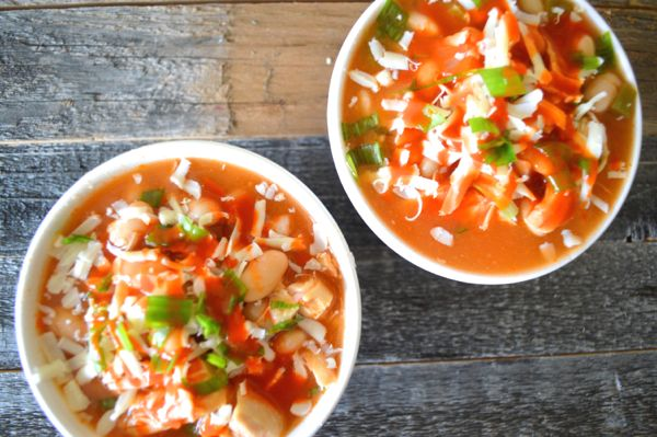 Slow Cooker Buffalo Chicken Chili, a hearty chili with a spicy buffalo kick!