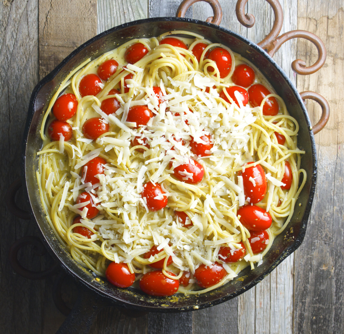 Creamy Parmesan Spaghetti with Cherry Tomatoes, just one pan and ready in under 20 minutes! #glutenfree