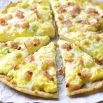 Crispy Breakfast Pizza with Cheddar and Leeks