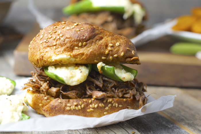 Shredded Beef and Jalapeno Popper Burgers. Total man food and super easy! #slowcooker #glutenfree