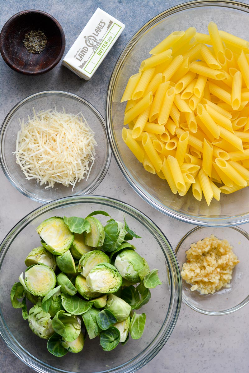 This five ingredient Penne with Brussels Sprouts and Parmesan is swimming in a rich brown butter sauce. The perfect vegetarian meal or quick and easy side dish!