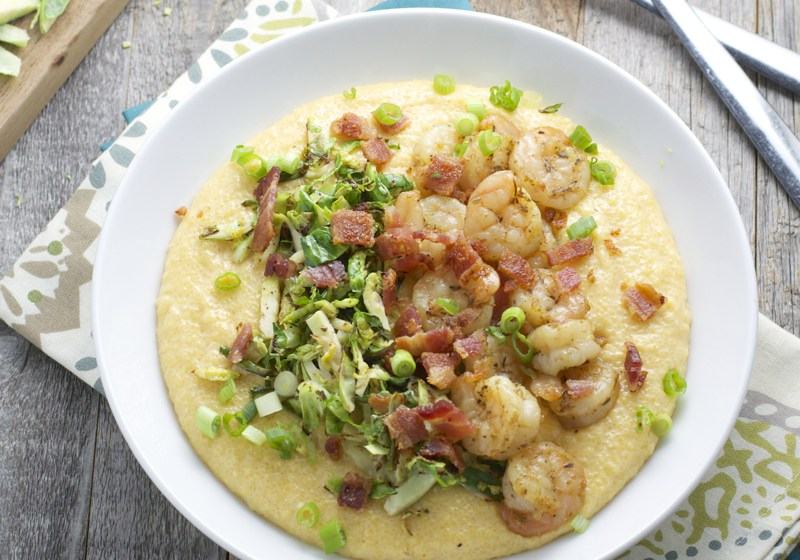 Gouda Grits with Shrimp and Crispy Sprouts