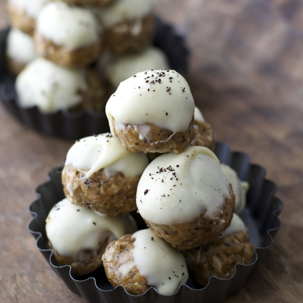 Almond Butter Espresso Balls, the most unbelievably addicting snack ever! Healthy, easy, and delicious! {gluten free}