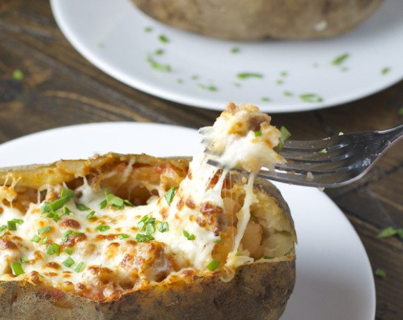 Pizza Stuffed Baked Potatoes