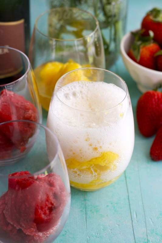 Two ingredient Sorbet with Gloria Ferrer Sparkling Wine! #begloriouscontest #sponsored