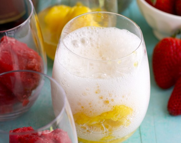 Fruit Sorbet and Sparkling Wine Floats
