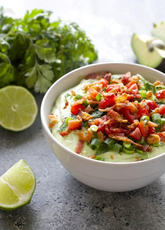 Avocado Bacon Dip! Creamy Avocado, light sour cream, ranch seasoning and crisp bacon make for the perfect Summer appetizer!