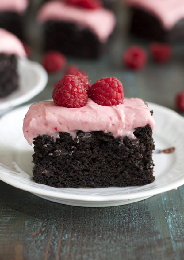 Dark Chocolate Brownies with Raspberry Frosting