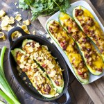 Chili Cheese Stuffed Zucchini Boats