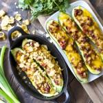 Chili Cheese Stuffed Zucchini Boats