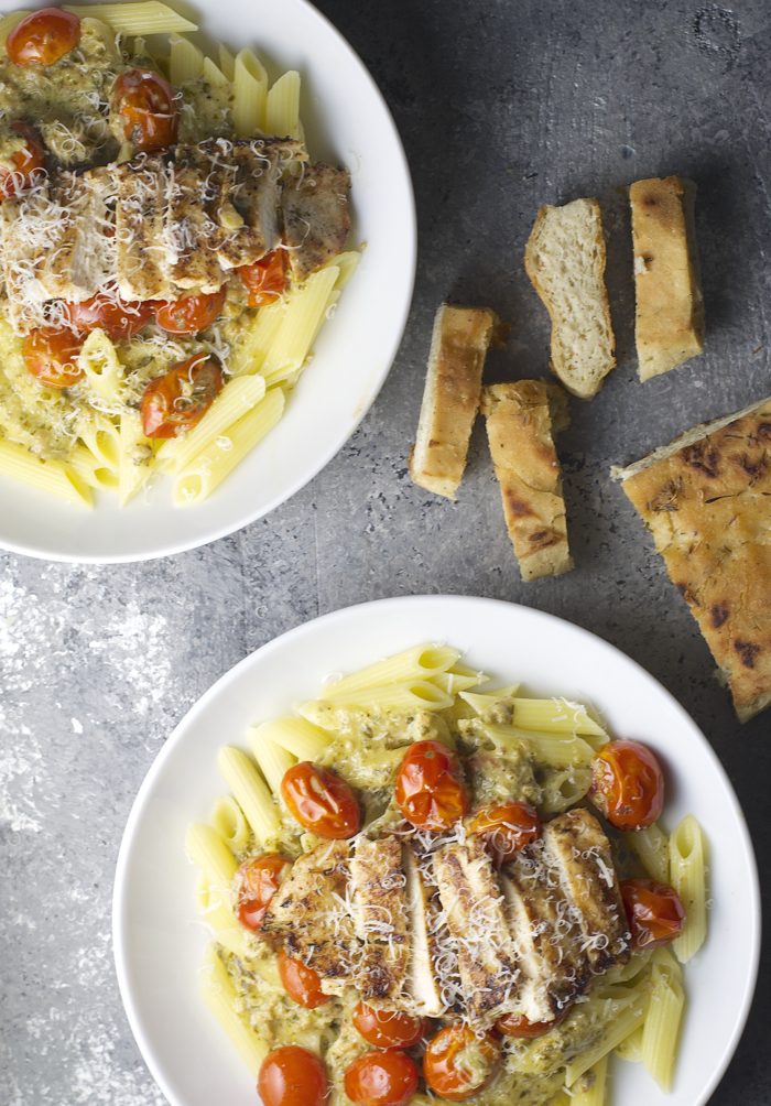 Grilled Garlic Chicken with Pesto Cream Sauce for an impressive pasta dinner!  This is SO GOOD!