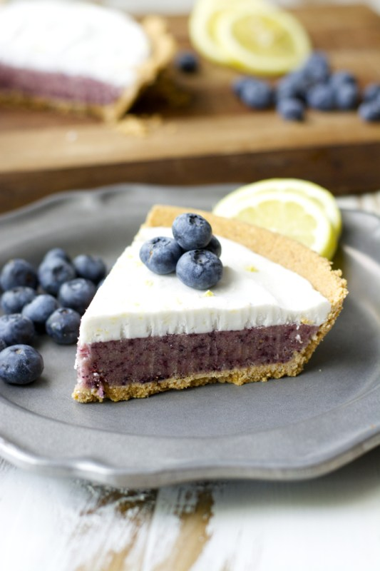 Blueberry Lemon Ice Cream Pie! Crazy easy and dairy free!