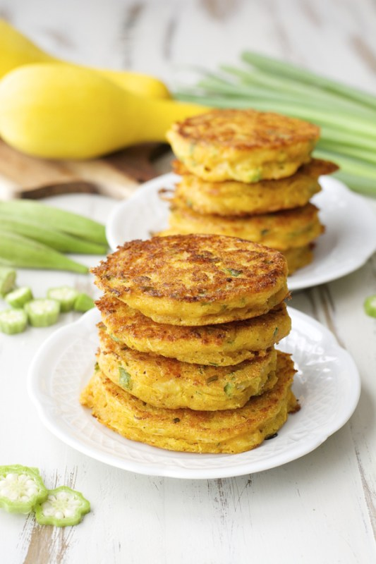 Yellow squash, sliced okra and fresh green onions make the perfect Summer dish! Try these Farmer's Market Fritters for a fun dinner!