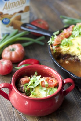 This Vegetarian Chili Pie with Cornbread Topping is so hearty you would never guess it is meatless!