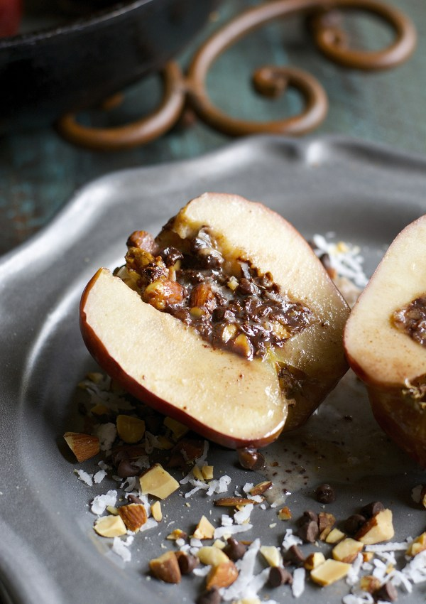 Chocolate Almond Stuffed Baked Apples