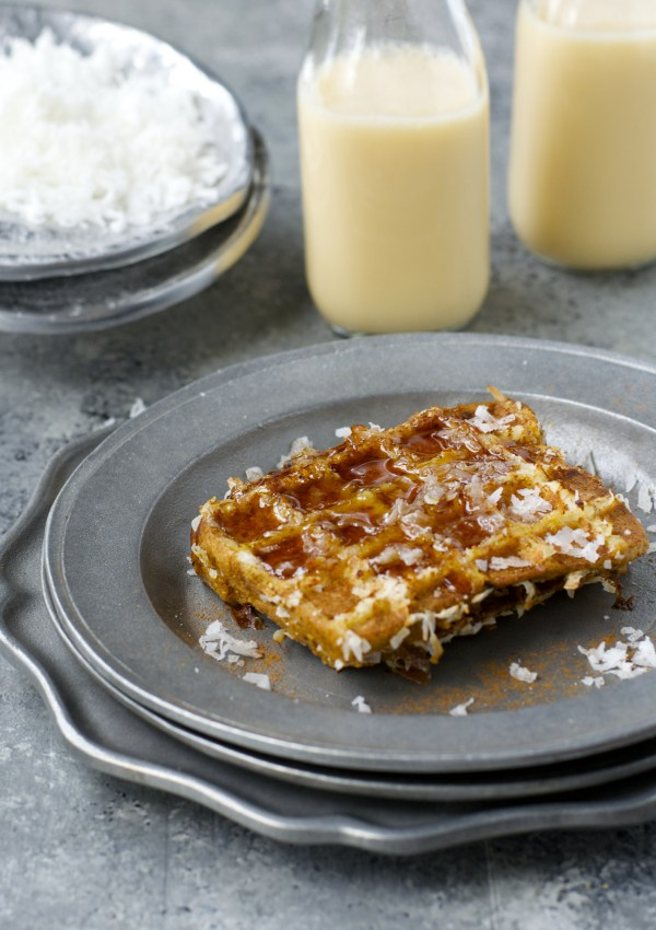 Coconut Crusted Eggnog French Toast Waffles