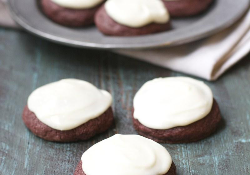 Gluten Free Red Velvet Cookies with Vanilla Cream Cheese Frosting!
