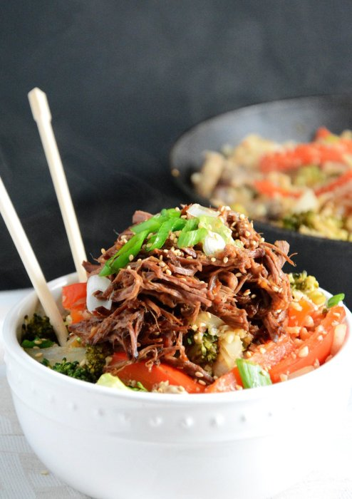 Slow Cooker Honey Soy Asian Beef with Cauliflower Fried Rice