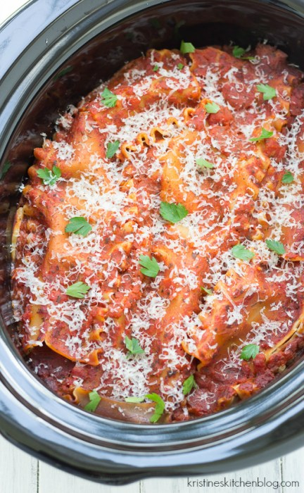 This crock pot lasagna is possibly the easiest lasagna you will ever make. A few minutes of stovetop cooking for the meat and onions, and then into your slow cooker everything goes. Dinner will be ready when you are!