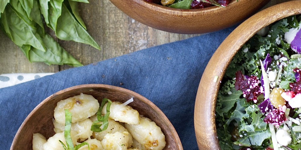 Gnocchi is sautéed in olive oil with freshly minced garlic until it is perfectly crisp then tossed with basil and parmesan! An easy dish ready in under 10 minutes!