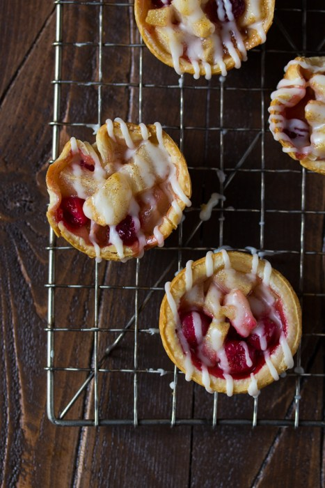 Mini Pear and Cranberry Pies with Brown Butter Glaze