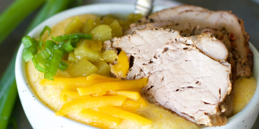This Garlic Pepper Pork Tenderloin with Green Chili Grits is ready in just 30 minutes and packed with flavor!
