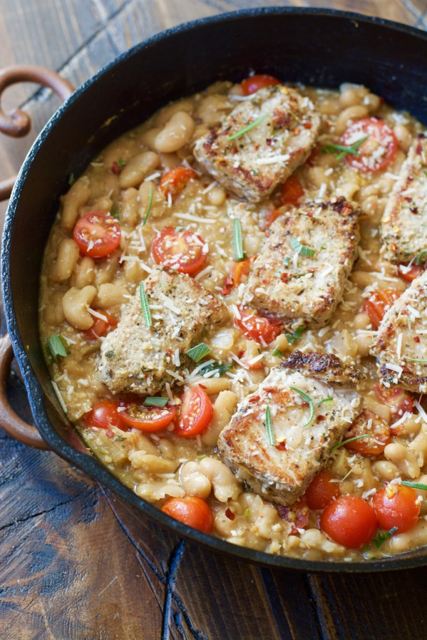 Make these easy one pan Garlic Herb Pork Medallions with Tuscan White Beans for a hearty comforting dish ready in under 30 minutes!