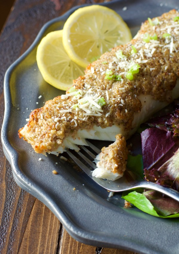 Keto Parmesan and Pecan Crusted Halibut