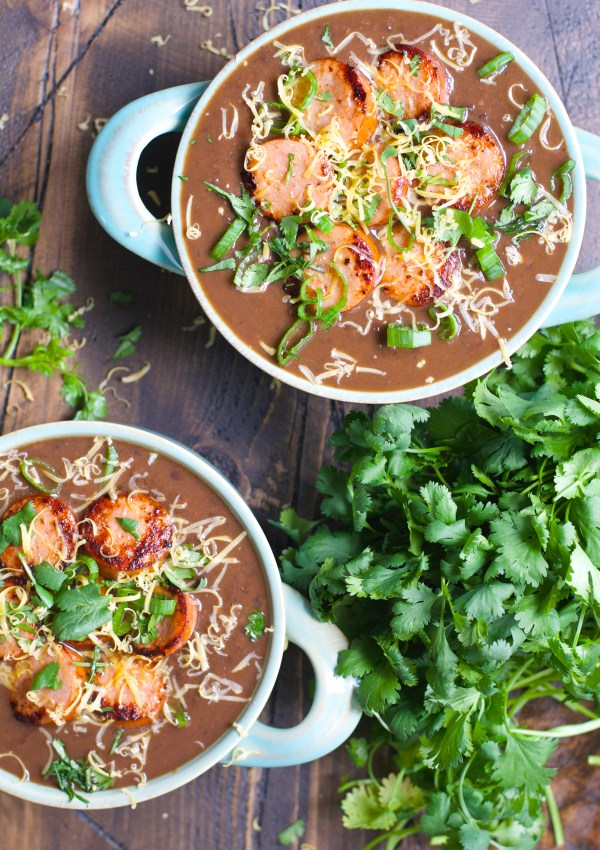 Smokey Black Bean Soup with Spicy Sausage