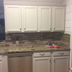 Brick Kitchen Backsplash Servers Easy Diy Maebells Update Your With An This Affordable Project Is Perfect For