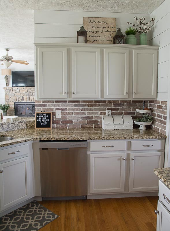 Easy DIY Brick Backsplash - Maebells