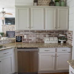 Brick Backsplash In Kitchen Items List Easy Diy Maebells Update Your With An This Affordable Project Is Perfect For Beginners Who Are Looking That Classic Farmhouse Style