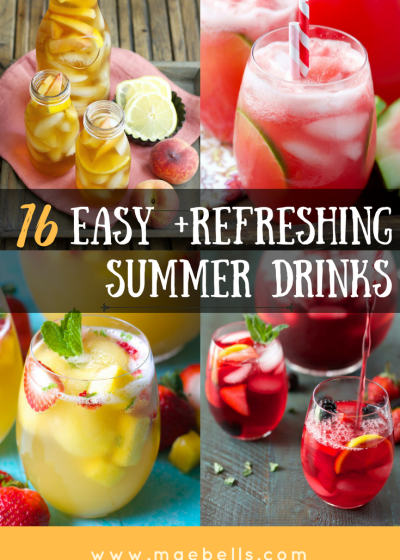 16 Easy and Refreshing Summer Drinks You Can't Live Without! Everything from healthy, fruit packed smoothies, fizzy punches, and boozy drinks!