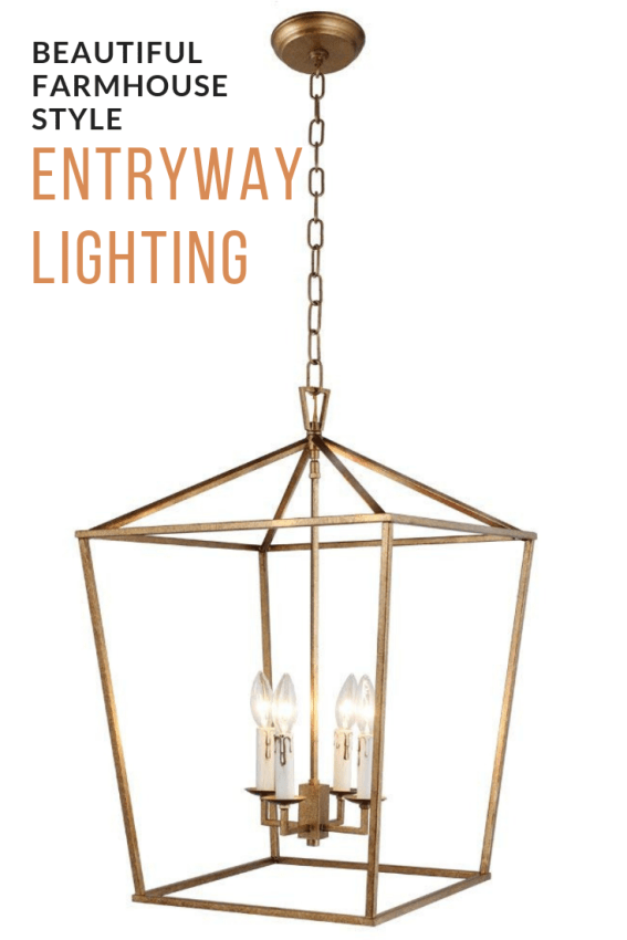 Create a stunning Fixer-Upper style entrance to  your home with beautiful farmhouse style entryway lighting! Affordable options for every home! #fixerupper #diy