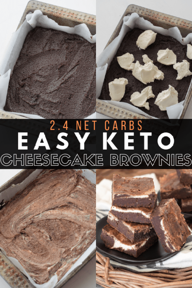 Fudgy Keto Cheesecake Brownies with a thick cheesecake swirl! An easy Keto dessert!  #keto #glutenfree