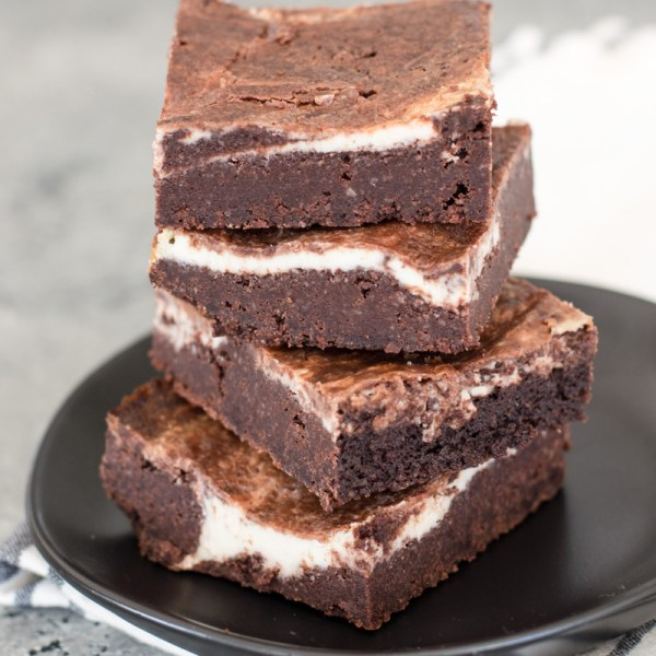 Fudgey Keto Cheesecake Brownies with a thick cheesecake swirl! An easy Keto dessert!