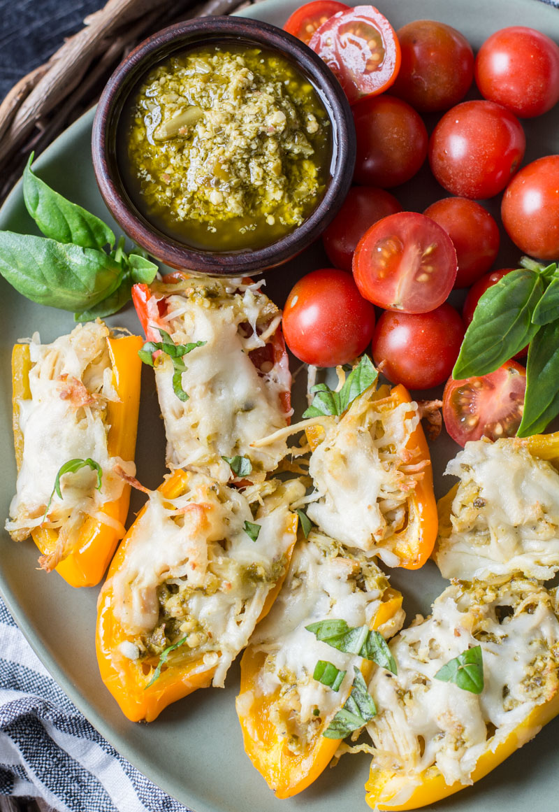 Keto Pesto Chicken Stuffed Sweet Peppers, a simple FOUR ingredient dinner that is healthy and gluten free! #keto