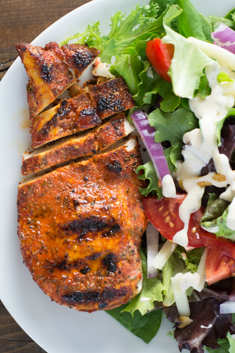 Learn how to make Easy Blackened Chicken perfect for salads, wraps, pasta and more. Pair with a low carb side for the perfect keto meal! #keto