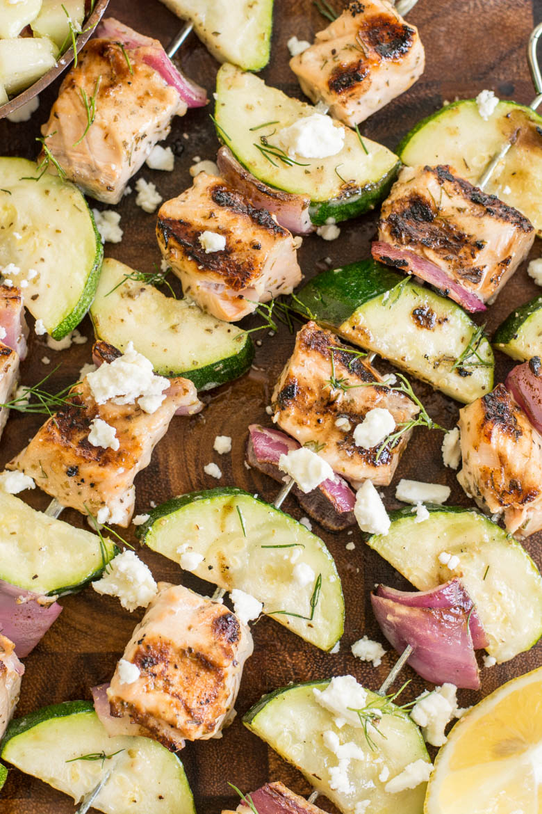 These Grilled Salmon Kabobs with Greek Marinade are loaded with lemon and garlic flavor! This shop has been compensated by Collective Bias, Inc. and its advertiser. All opinions are mine alone. #MarinadesWithMazola #MakeItWithHeart #CollectiveBias #ad