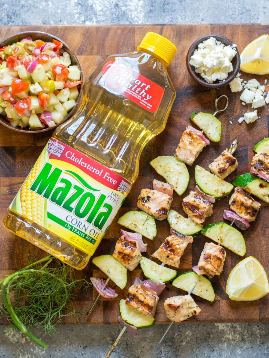 These Grilled Salmon Kabobs with Greek Marinade are loaded with lemon and garlic flavor! #ad