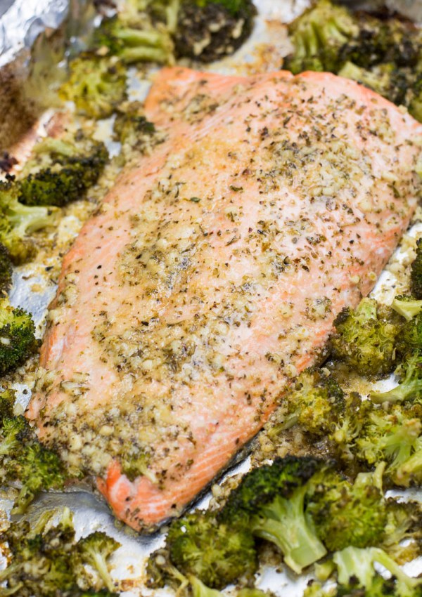 Keto Garlic Butter Salmon and Broccoli Sheet Pan Dinner