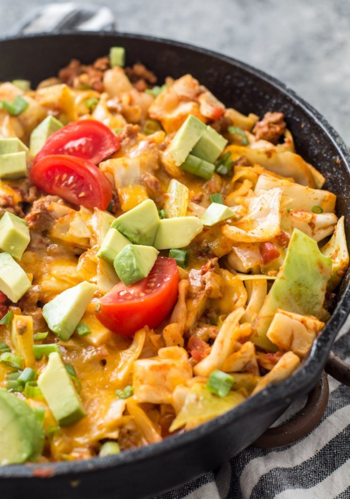 One Pan Cheesy Taco Cabbage Skillet (keto + low carb)
