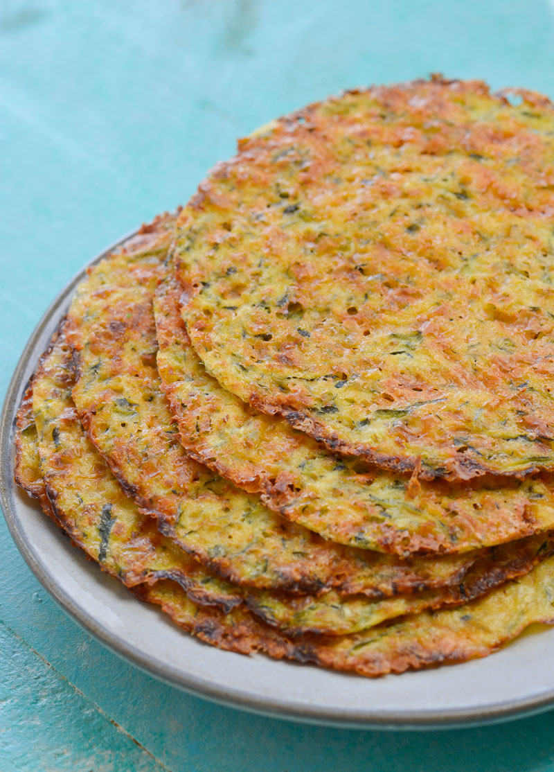 These easy five ingredient Zucchini Tortillas are low carb, grain free and keto friendly! At about one net carb per tortilla these are perfect for keto wraps, quesadillas and more!