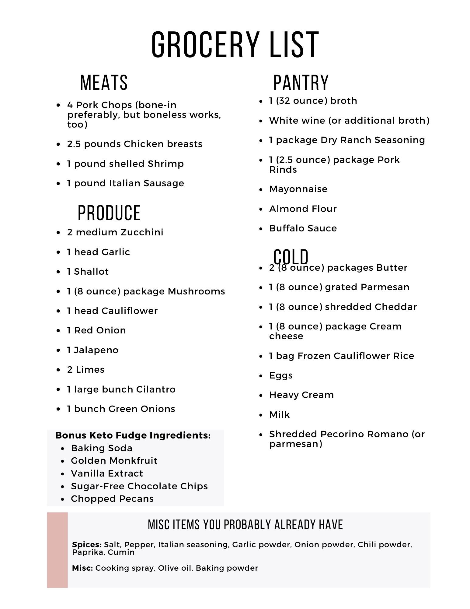 Easy Keto Meal Plan Week 16 Grocery List