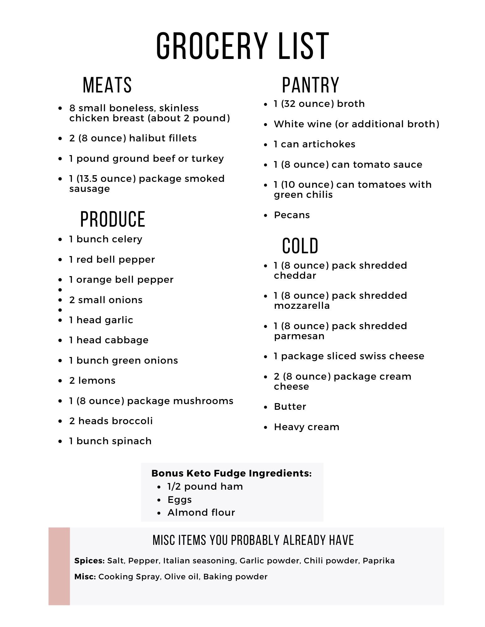 Easy Keto Meal Plan Grocery List Week 15