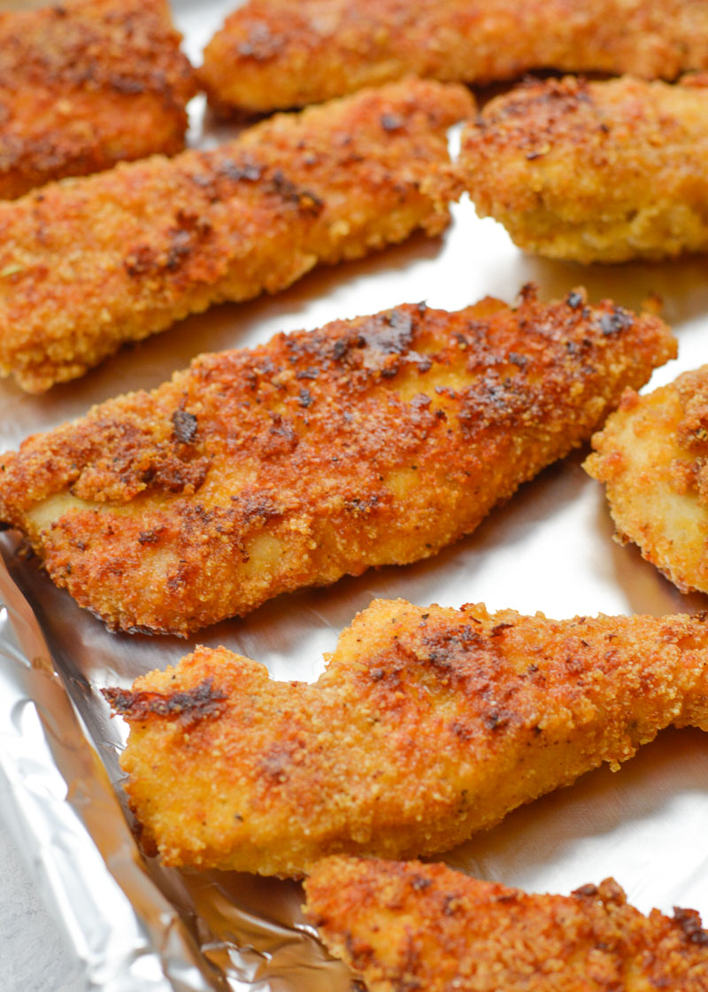 These Crispy Oven Baked Keto Chicken Tenders are just what you've been craving! These delicious low carb, gluten free chicken tenders are about 1 net carb for two tenders!