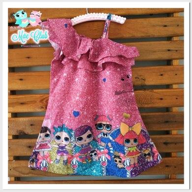 Vestido Infantil LOL Surprise Glitter Pink