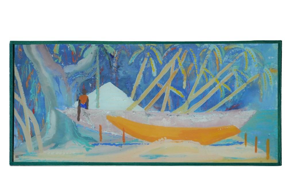 Pirogues 3, Elinkine, Casamance, encres et glycéro sur verre 38x18 cm