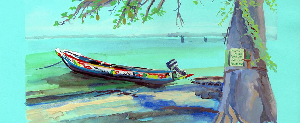 gouache sur papier de couleur, pirogue, Carabane, Sénégal